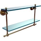 Astor Place Collection 22'' Double Shelf w/Towel Bar, Premium Finish, Satin Brass