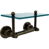 Astor Place Collection Two Post Toilet Tissue Holder with Glass Shelf, Antique Brass