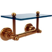 Astor Place Collection Two Post Toilet Tissue Holder with Glass Shelf, Unlacquered Brass
