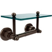 Astor Place Collection Two Post Toilet Tissue Holder with Glass Shelf, Antique Pewter