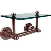 Astor Place Collection Two Post Toilet Tissue Holder with Glass Shelf, Satin Nickel