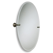 Oval Tilt Mirror w/ Beveled Edge, Dottingham, 21''W x 29''H, Premium, Brushed Bronze