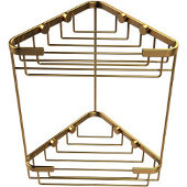 Double Tier Corner Shower Basket, Unlacquered Brass