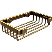 Rectangular Soap Basket, Unlacquered Brass