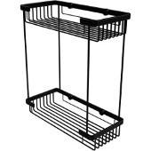 Double Tier Rectangular Toiletry Shower Basket, Matte Black