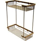 Double Tier Rectangular Toiletry Shower Basket, Unlacquered Brass