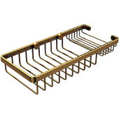 Rectangular Combination Shower Basket, Unlacquered Brass