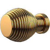 C-1 Series Designer Cabinet Knobs Collection 1'' Diameter Round Grooved Cabinet Knob in Polished Brass (Standard Finish), Available in Multiple Finishes