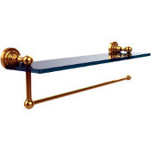 Dottingham Collection Paper Towel Holder with 16 Inch Glass Shelf, Unlacquered Brass