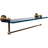 Dottingham Collection Paper Towel Holder with 16 Inch Glass Shelf, Satin Brass