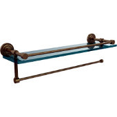 Dottingham Collection Paper Towel Holder with 16 Inch Gallery Glass Shelf, Antique Brass
