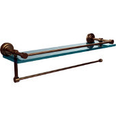 Dottingham Collection Paper Towel Holder with 16 Inch Gallery Glass Shelf, Brushed Bronze