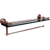 Dottingham Collection Paper Towel Holder with 16 Inch Gallery Glass Shelf, Polished Nickel
