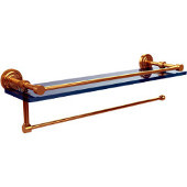 Dottingham Collection Paper Towel Holder with 22 Inch Gallery Glass Shelf, Unlacquered Brass