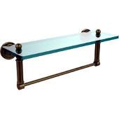 Dottingham Collection 16'' Glass Shelf with Towel Bar, Premium Finish, Antique Brass