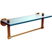 Dottingham 16 Inch Glass Vanity Shelf with Integrated Towel Bar, Unlacquered Brass