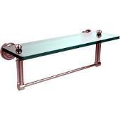 Dottingham Collection 16'' Glass Shelf with Towel Bar, Standard Finish, Polished Chrome