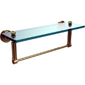 Dottingham Collection 16'' Glass Shelf with Towel Bar, Premium Finish, Satin Brass