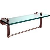 Dottingham Collection 16'' Glass Shelf with Towel Bar, Premium Finish, Satin Nickel
