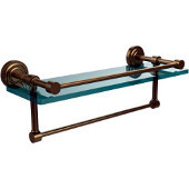 Dottingham 16 Inch Gallery Glass Shelf with Towel Bar, Brushed Bronze