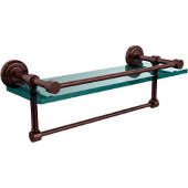 Dottingham 16 Inch Gallery Glass Shelf with Towel Bar, Antique Copper