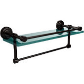 Dottingham 16 Inch Gallery Glass Shelf with Towel Bar, Oil Rubbed Bronze