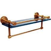 Dottingham 16 Inch Gallery Glass Shelf with Towel Bar, Polished Brass