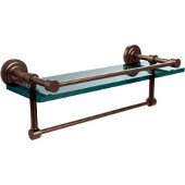 Dottingham 16 Inch Gallery Glass Shelf with Towel Bar, Antique Pewter