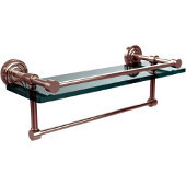 Dottingham 16 Inch Gallery Glass Shelf with Towel Bar, Polished Nickel