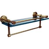Dottingham 16 Inch Gallery Glass Shelf with Towel Bar, Satin Brass
