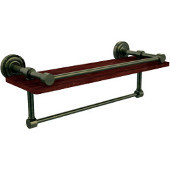 Dottingham Collection 16 Inch IPE Ironwood Shelf with Gallery Rail and Towel Bar, Antique Brass
