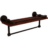 Dottingham Collection 16 Inch IPE Ironwood Shelf with Gallery Rail and Towel Bar, Antique Bronze