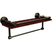Dottingham Collection 16 Inch IPE Ironwood Shelf with Gallery Rail and Towel Bar, Brushed Bronze