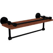 Dottingham Collection 16 Inch IPE Ironwood Shelf with Gallery Rail and Towel Bar, Matte Black