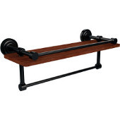 Dottingham Collection 16 Inch IPE Ironwood Shelf with Gallery Rail and Towel Bar, Oil Rubbed Bronze