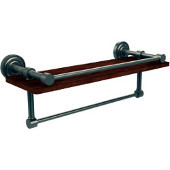 Dottingham Collection 16 Inch IPE Ironwood Shelf with Gallery Rail and Towel Bar, Antique Pewter