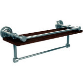 Dottingham Collection 16 Inch IPE Ironwood Shelf with Gallery Rail and Towel Bar, Polished Nickel