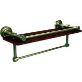 Dottingham Collection 16 Inch IPE Ironwood Shelf with Gallery Rail and Towel Bar, Satin Brass