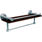 Dottingham Collection 16 Inch IPE Ironwood Shelf with Gallery Rail and Towel Bar, Satin Chrome