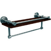 Dottingham Collection 16 Inch IPE Ironwood Shelf with Gallery Rail and Towel Bar, Satin Nickel