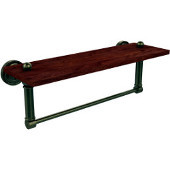 Dottingham Collection 16 Inch Solid IPE Ironwood Shelf with Integrated Towel Bar, Antique Brass
