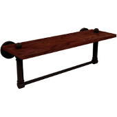 Dottingham Collection 16 Inch Solid IPE Ironwood Shelf with Integrated Towel Bar, Antique Bronze