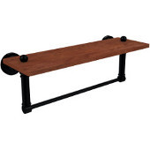 Dottingham Collection 16 Inch Solid IPE Ironwood Shelf with Integrated Towel Bar, Matte Black