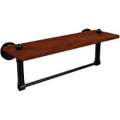 Dottingham Collection 16 Inch Solid IPE Ironwood Shelf with Integrated Towel Bar, Oil Rubbed Bronze
