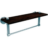 Dottingham Collection 16 Inch Solid IPE Ironwood Shelf with Integrated Towel Bar, Polished Chrome