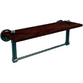 Dottingham Collection 16 Inch Solid IPE Ironwood Shelf with Integrated Towel Bar, Antique Pewter