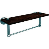Dottingham Collection 16 Inch Solid IPE Ironwood Shelf with Integrated Towel Bar, Polished Nickel