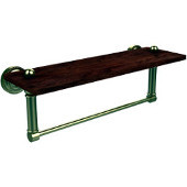 Dottingham Collection 16 Inch Solid IPE Ironwood Shelf with Integrated Towel Bar, Satin Brass