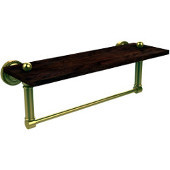 Dottingham Collection 16 Inch Solid IPE Ironwood Shelf with Integrated Towel Bar, Unlacquered Brass