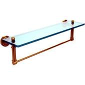 Dottingham Collection 22'' Glass Shelf with Towel Bar, Standard Finish, Polished Brass